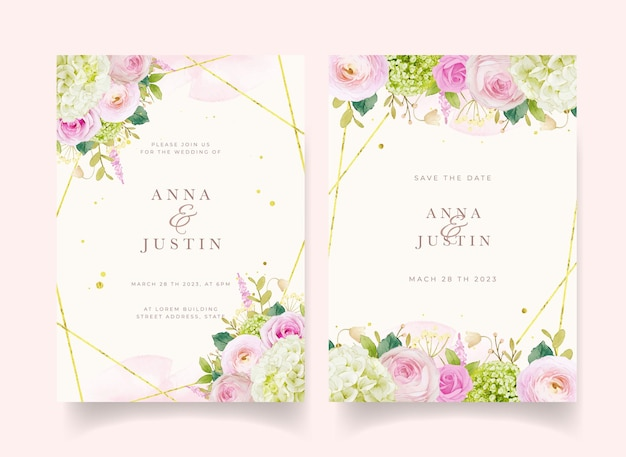 Invitation de mariage avec des roses roses aquarelles et des hortensias