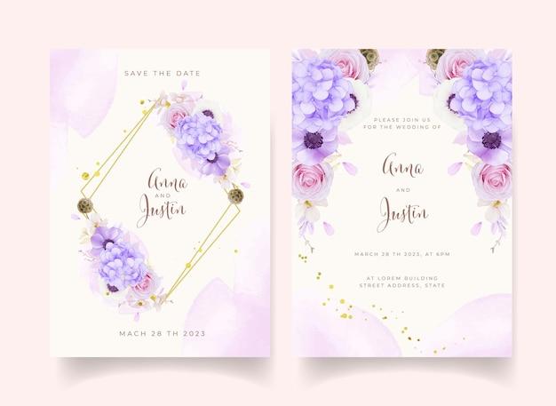 Invitation de mariage avec des roses roses aquarelles