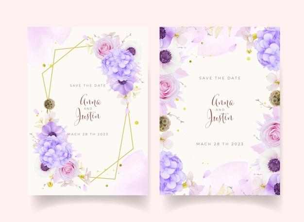 Invitation De Mariage Avec Des Roses Roses Aquarelles Vecteur gratuit