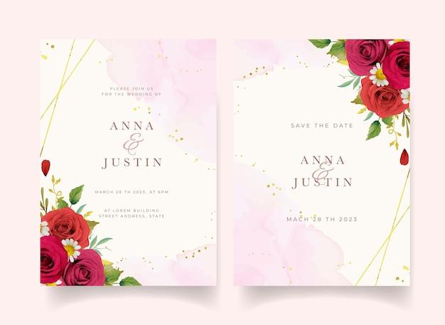 Invitation de mariage avec des roses rouges aquarelles