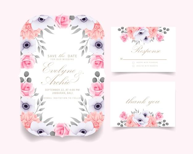 Invitation de mariage avec des roses