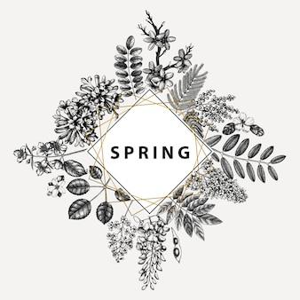 Invitation de mariage, rsvp, carte de voeux. cadre vintage avec des arbres de printemps avec des fleurs, des feuilles, des croquis de branches. élégant modèle floral de printemps - acacia, jasmin, glycine, lilas