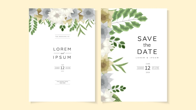 Invitation de mariage rustique invitation florale merci, carte moderne rsvp.