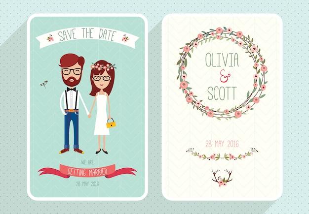 Invitation de mariage rustique sertie de drôles de personnages