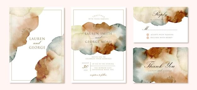 Invitation de mariage sertie d'aquarelle abstraite marron vert