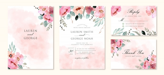 Invitation de mariage sertie d'aquarelle fleur abstraite et rose