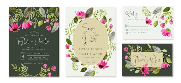 Invitation de mariage sertie d'aquarelle de fleur verte rose