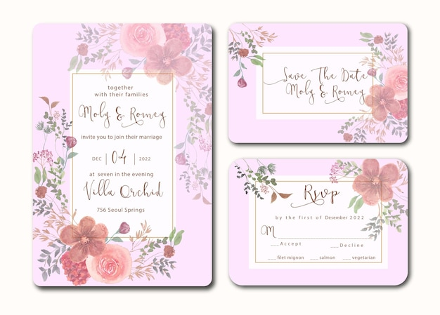 Invitation de mariage sertie d'aquarelle florale de costume