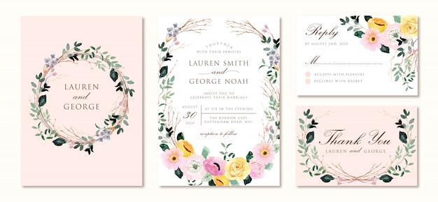Invitation de mariage sertie d'une aquarelle florale rose jaune