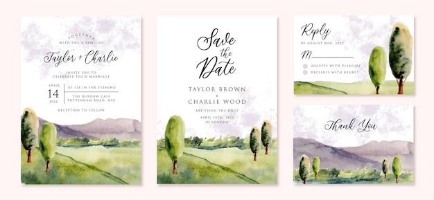 Invitation de mariage sertie d'aquarelle de paysage de montagne dan hill