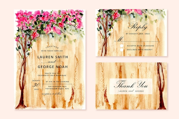 Invitation de mariage sertie d'arbre bougainvillier aquarelle
