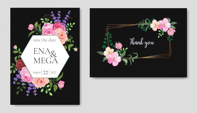 Invitation de mariage sertie de belles fleurs feuilles