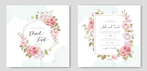 Invitation de mariage sertie de belles fleurs et feuilles