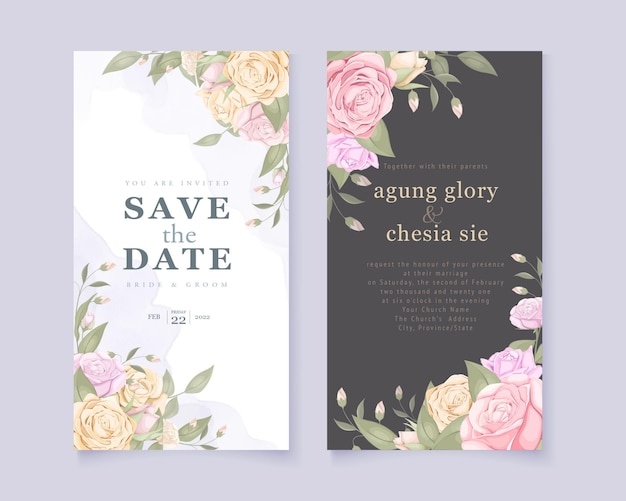 Invitation de mariage sertie de bouquet de roses