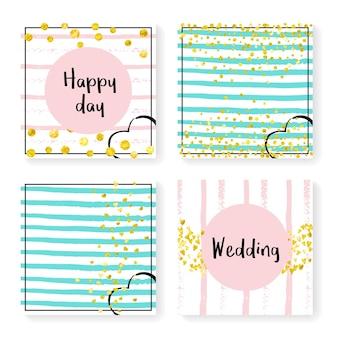 Invitation de mariage sertie de confettis et de rayures scintillantes. coeurs et points d'or sur fond rose et menthe