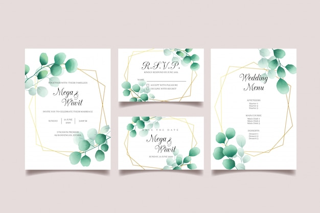 Invitation de mariage sertie d'eucalyptus, cadre doré