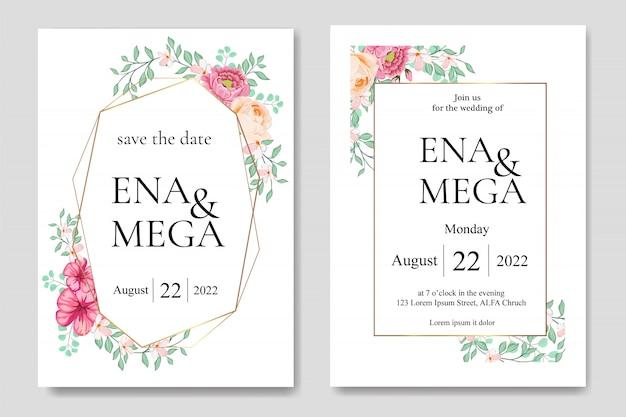 Invitation de mariage sertie de feuilles de belles fleurs