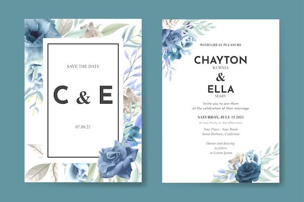 Invitation de mariage sertie de fleurs de roses douces bleues