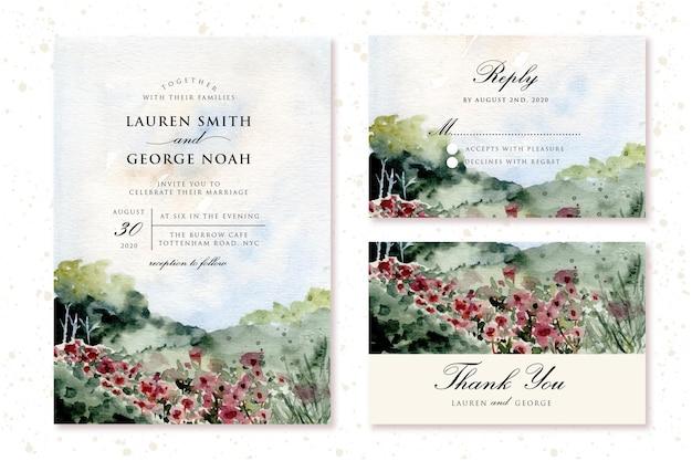 Invitation de mariage sertie de paysage aquarelle de prairie de fleurs