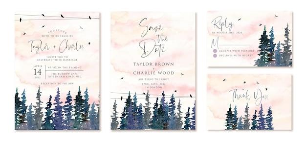 Invitation de mariage sertie de pins aquarelles