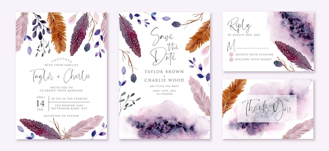 Invitation de mariage sertie de plumes pourpres rustiques et de feuilles aquarelle