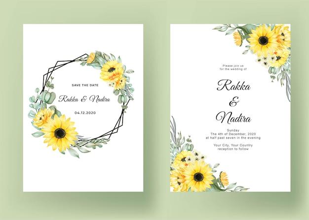 Invitation de mariage sertie de tournesols