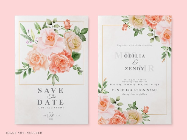 Invitation de mariage set design rose rouge