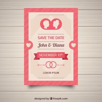 Invitation de mariage avec des silhouettes et des rigns