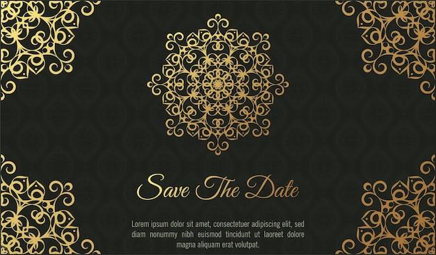 Invitation de mariage sombre de luxe de style mandala