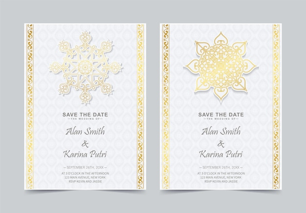 Invitation de mariage de style mandala de luxe