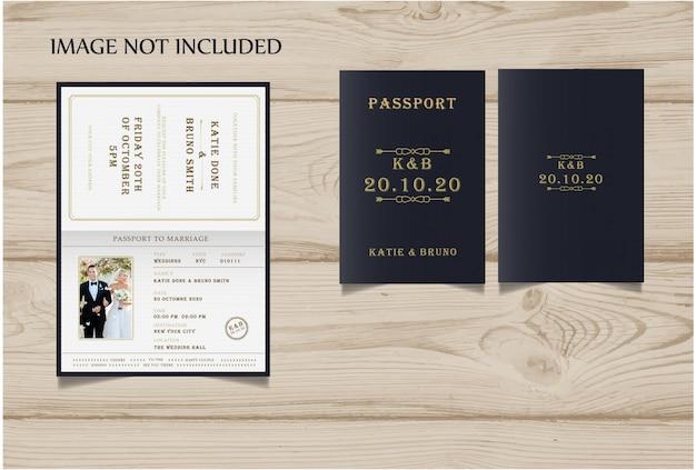 Invitation de mariage de style passeport