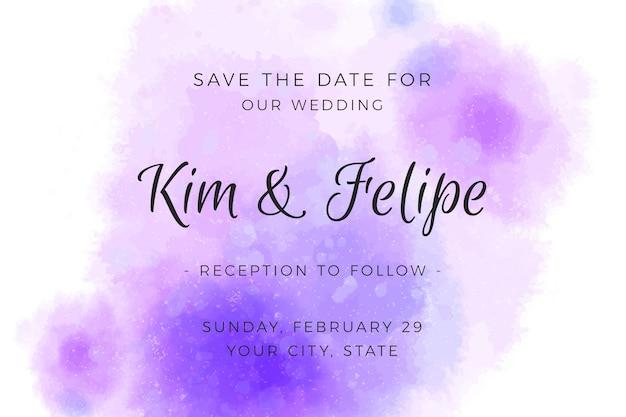 Invitation de mariage avec des taches violettes aquarelles dégradées