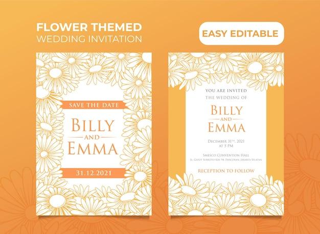 Invitation de mariage sur le thème du tournesol facilement modifiable