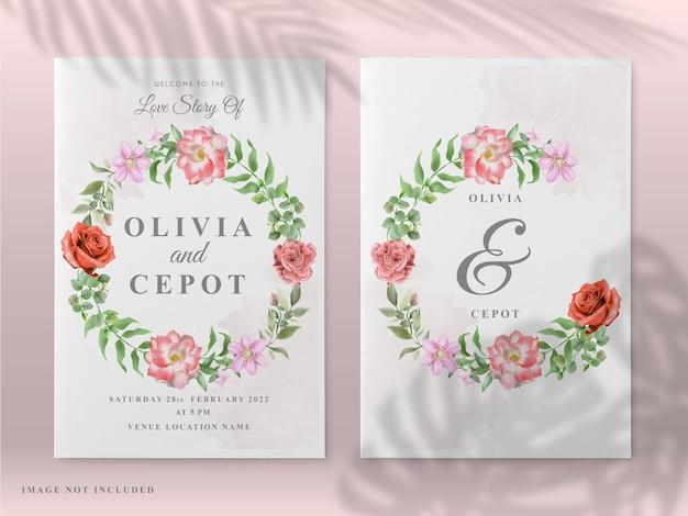 Invitation de mariage avec un thème de peinture rose rouge