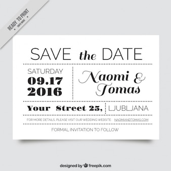 Invitation de mariage très original en noir et blanc
