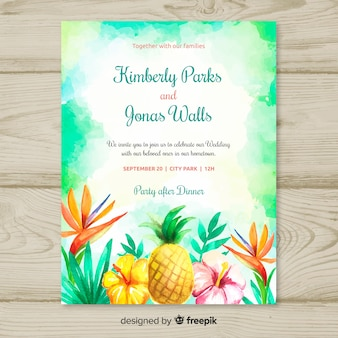 Invitation de mariage tropical aquarelle