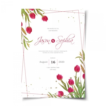 Invitation de mariage de tulipes rouges aquarelle