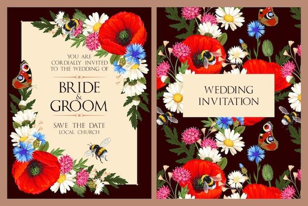 Invitation de mariage de vecteur avec fleur de prairie