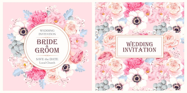 Invitation de mariage de vecteur avec fleur vintage