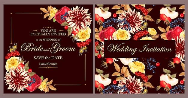 Invitation de mariage de vecteur avec des fleurs et des baies d'automne