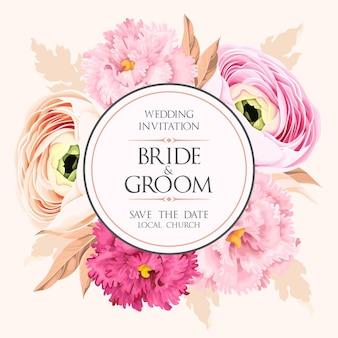 Invitation de mariage de vecteur avec des fleurs pastel