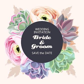 Invitation de mariage de vecteur avec des fleurs et des plantes succulentes