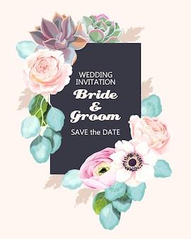 Invitation de mariage de vecteur avec des fleurs de printemps et d'eucalyptus