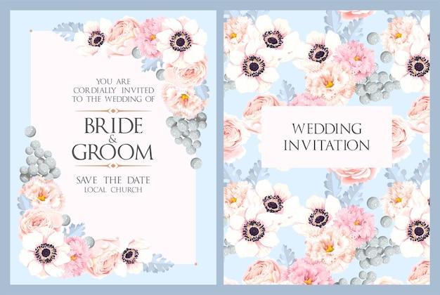 Invitation de mariage de vecteur avec des fleurs vintage