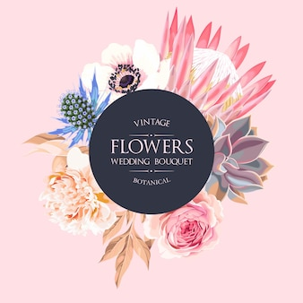 Invitation de mariage de vecteur avec une protéa très détaillée et d'autres fleurs sur fond rose clair