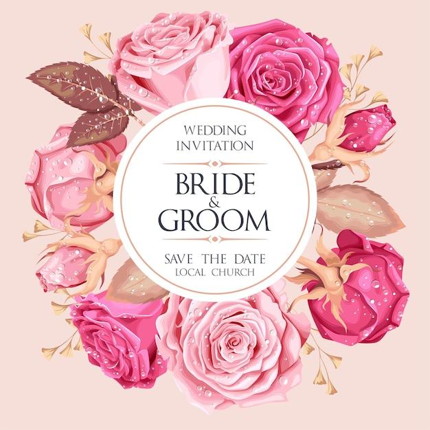 Invitation de mariage de vecteur avec rose vintage