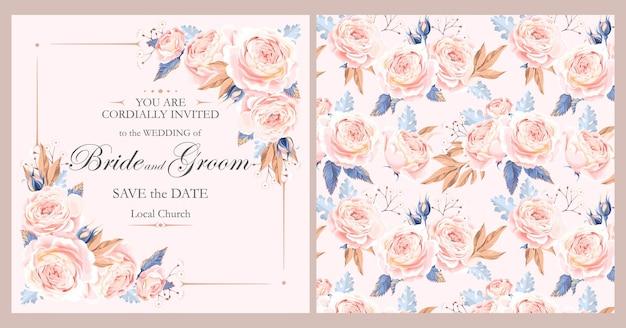 Invitation de mariage de vecteur avec des roses dans un style vintage