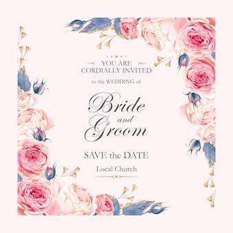 Invitation de mariage de vecteur avec des roses vintage