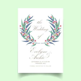Invitation de mariage de verdure avec eucalyptus fleur