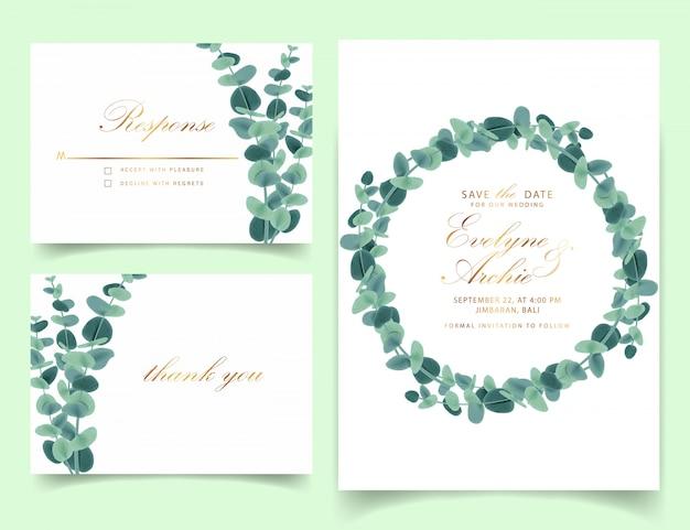 Invitation de mariage de verdure avec des feuilles d'eucalyptus
